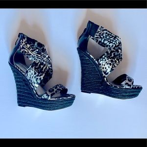 Leopard Wedge Sandals by Bebe